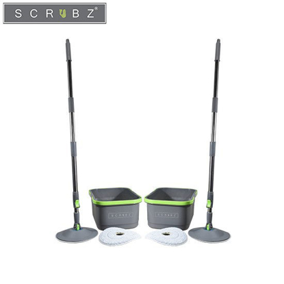 Picture of SCRUBZ Buy1 Take1 Heavy Duty Cleaning Essentials Easy Grip Premium Microfiber 360ᴼ Stainless Steel Spin Mop with Single Bucket
