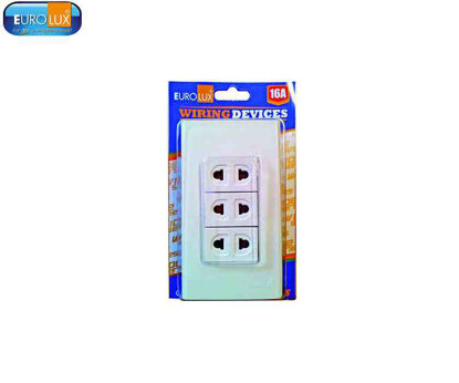 Picture of Eurolux 3 Gang Universal Outlet (Ews3Guo) 16A