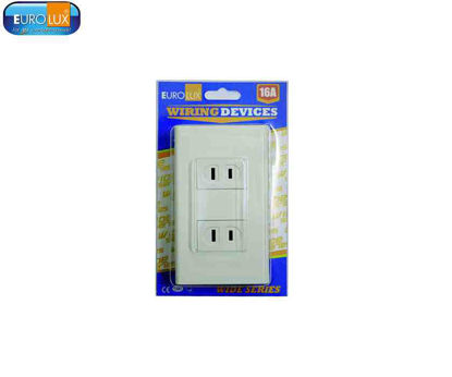 Picture of Eurolux 2 Gang Flat Pin Outlet (Ews2Gfpo) 16A