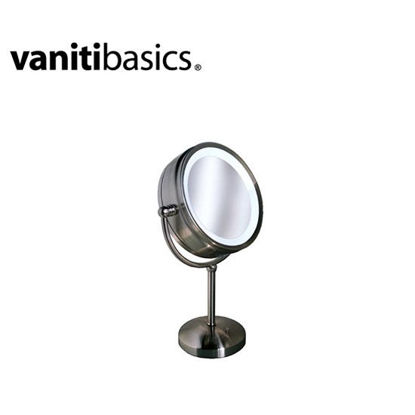 "Picture of Vanitibasics Clarity 8 3/4"" double-sided Lighted Vanity Mirror with Satin Chrome Finish (8x/1x) M-1V"