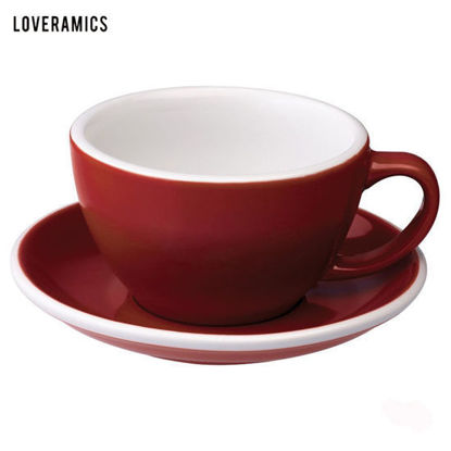 Picture of Loveramics Egg 300ml Café Latte Cup & Saucer in Red