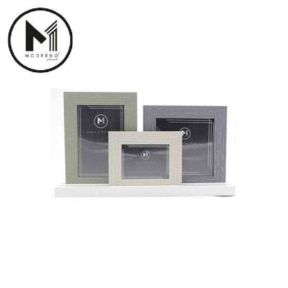Picture of MODERNO Premium Picture Frame Set of 3 White Gray Green Wood Finish