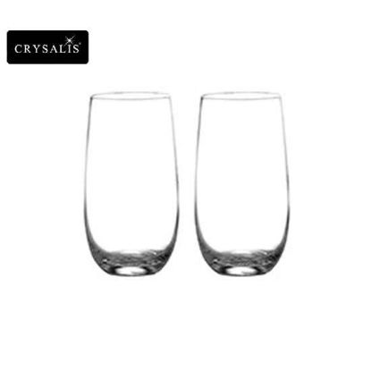 Picture of CRYSALIS Premium Lead Free Crystal Stemware Long Drink Glass Highball, Stemless Wine Glass 510ml | 18oz Set of 2