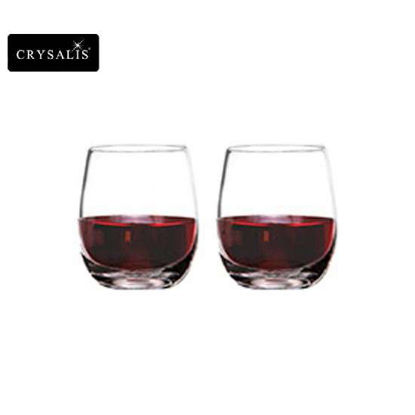 Picture of CRYSALIS Premium Lead Free Crystal Stemware Double Rock Glass Stemless Wine Glass 360ml | 13oz Set of 2