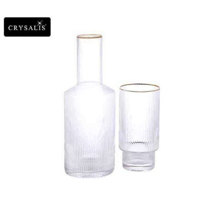 Picture of CRYSALIS Premium Clear Glass Ripple Carafe with Glass 790ml | 26.7oz