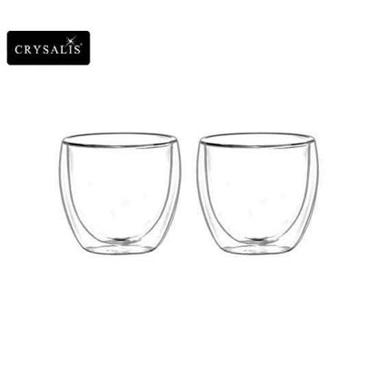 Picture of CRYSALIS Premium Clear Glass Coffee Cup Double Wall 80ml | 2.7oz Set of 2