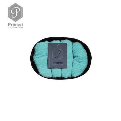 Picture of PRIMEO Premium 100% Cotton Hand Towel Set of 4 w/ Basket 300gsm Turquoise