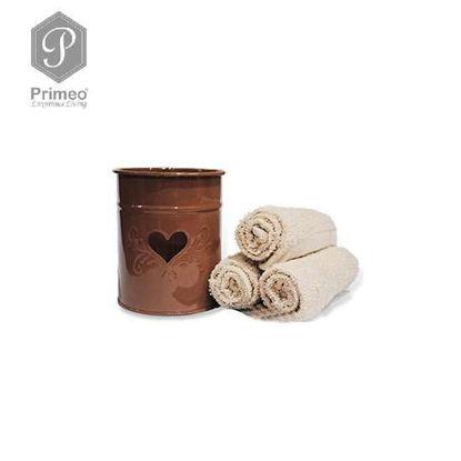 Picture of PRIMEO Premium 100% Cotton Hand Towel Set of 3 w/ Basket 300gsm Beige