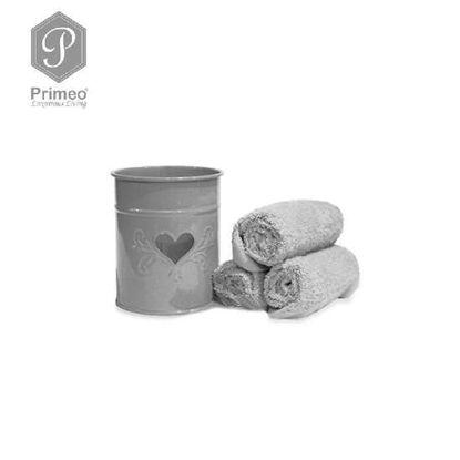 Picture of PRIMEO Premium 100% Cotton Hand Towel Set of 3 w/ Basket 300gsm Grey