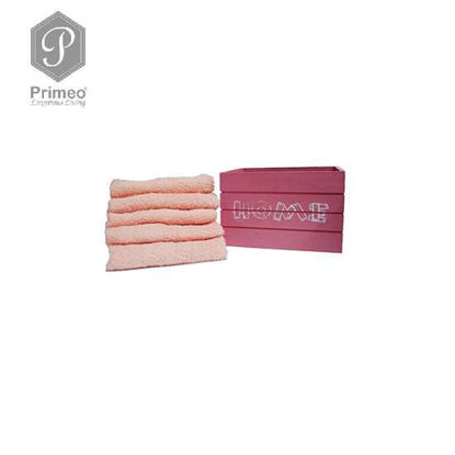 Picture of PRIMEO Premium 100% Cotton Hand Towel Set of 5 w/ Basket 300gsm Coral