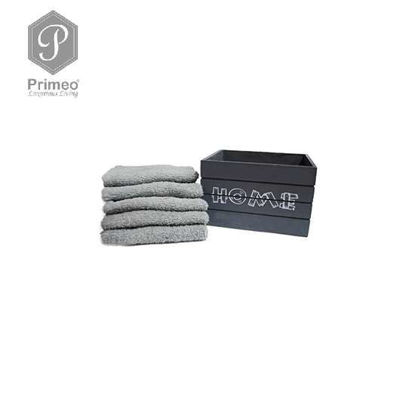 Picture of PRIMEO Premium 100% Cotton Hand Towel Set of 5 w/ Basket 300gsm Grey