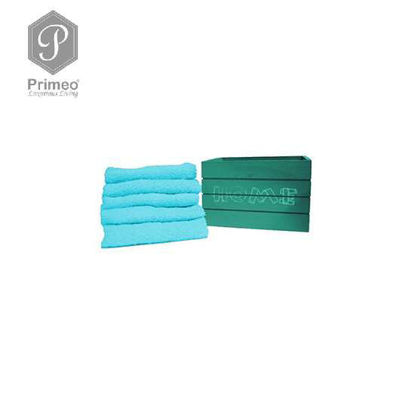 Picture of PRIMEO Premium 100% Cotton Hand Towel Set of 5 w/ Basket 300gsm Turquoise