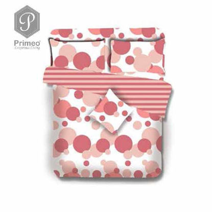 Picture of PRIMEO Premium 100% Cotton 220TC Queen Comforter Set of 4 Coral