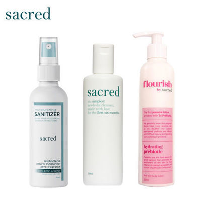 Picture of Sacred Newborn Cleanser + Sacred Zero Fragrance + Sacred Flourish Prebiotic