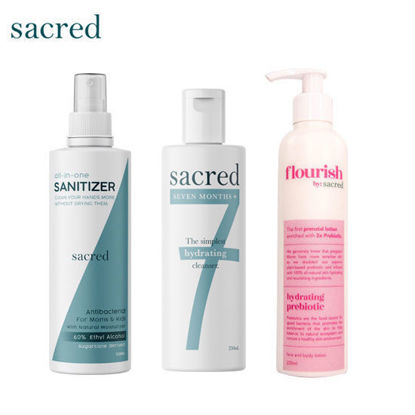 Picture of Sacred 7 months + Hydrating Cleanser + Sacred All in One Sanitizer + Sacred Zero Fragrance