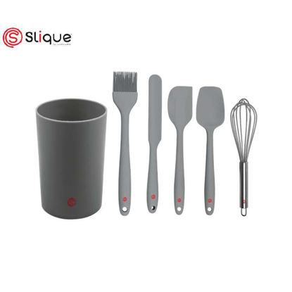 Picture of SLIQUE Premium Silicone Kitchen Tools Set with Holder Set of 7 Baking Accessories Amazing Gift Idea For Any Occassion!