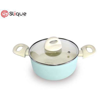 Picture of SLIQUE Ceramic Non-Stick Dutch Oven Pan Unique & Stylish, Aluminium, Induction, Teal Coating 20cm