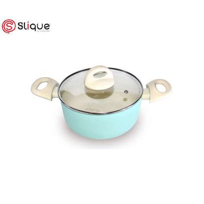 Picture of SLIQUE Ceramic Non-Stick Dutch Oven Pan Unique & Stylish, Aluminium, Induction, Teal Coating 24cm