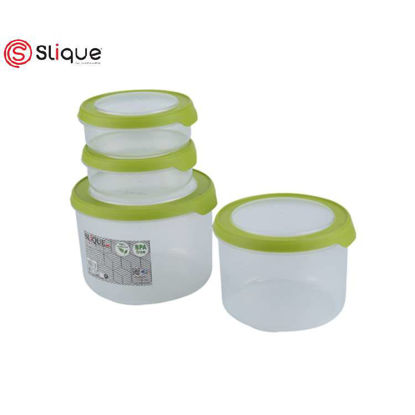 Picture of SLIQUE Round Food Container 4pc - Green