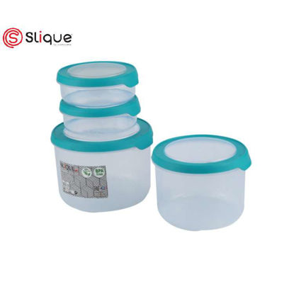 Picture of SLIQUE Round Food Container 4pc - Aqua Green