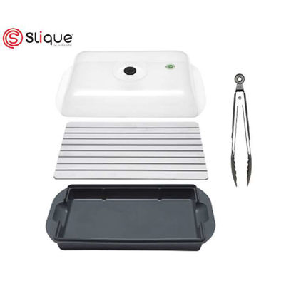Picture of SLIQUE 5 in 1 Defrosting Tray Set with Tong, Cover, & Silicone Scrub