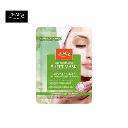 Picture of ZEAL Premium Sheet Mask Skin Care Ginseng & Ginko Tight & Elastic, Revitalizing & Youthful Sheet Mask 25ml