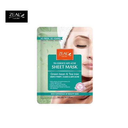 Picture of ZEAL Premium Sheet Mask Skin Care Tea Essence Anti-Acne Green Bean & Tea Tree Sheet Mask 25ml