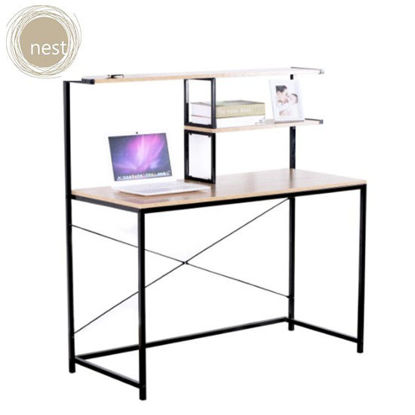 Picture of NEST DESIGN LAB Working Desk with 2 Tier Shelves for Organizing for home & Office
