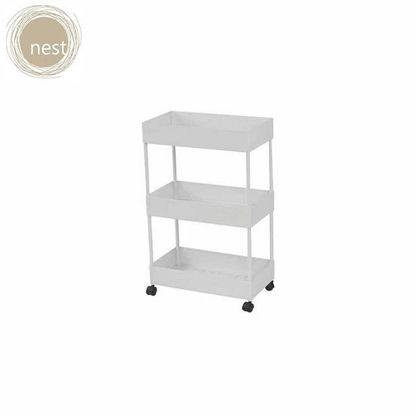 Picture of NEST DESIGN LAB 3 Layer Multi-Purpose, Heavy Duty Utility Cart/Storage/Shelf Rack/Trolley (Kitchen, Pantry, Bedroom, Bathroom, Laundry) Organizer w/ Roller/Wheels