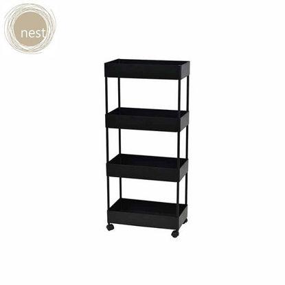 Picture of NEST DESIGN LAB 4 Layer Multi-Purpose, Heavy Duty Utility Cart/Storage/Shelf Rack/Trolley (Kitchen, Pantry, Bedroom, Bathroom, Laundry) Organizer w/ Roller/Wheels