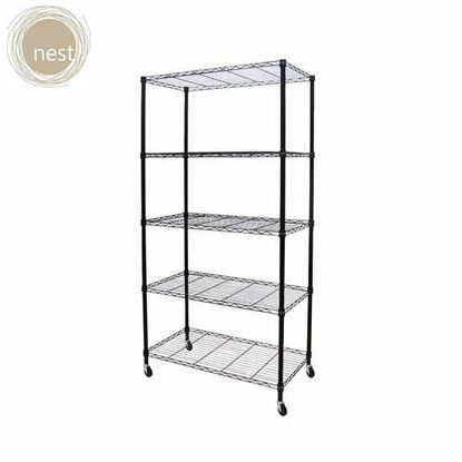Picture of NEST DESIGN LAB 5 Layer Shelf Rack with wheels -Multi Purpose-Stainless-Best Gift for Wedding/Anniversary Gift/Birthday Gift