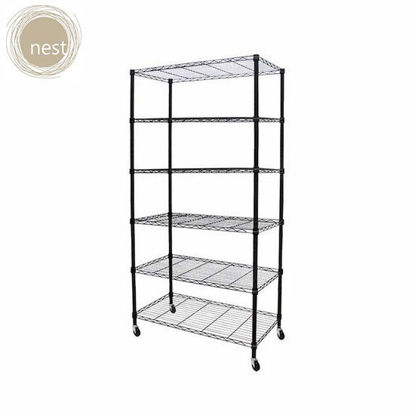 Picture of NEST DESIGN LAB 6 Layer Shelf Rack with wheels -Multi Purpose-Stainless-Best Gift for Wedding/Anniversary Gift/Birthday Gift