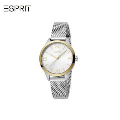 Picture of Esprit Pointy Gold Dial Silver Mesh Strap for Women EES1L259M2135