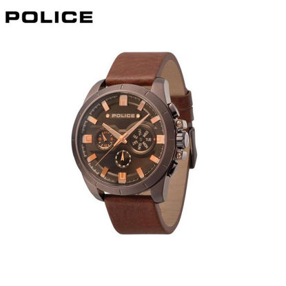 Picture of Police Overdrive Brown Leather Watch For Men PPL.15046JBBN/02