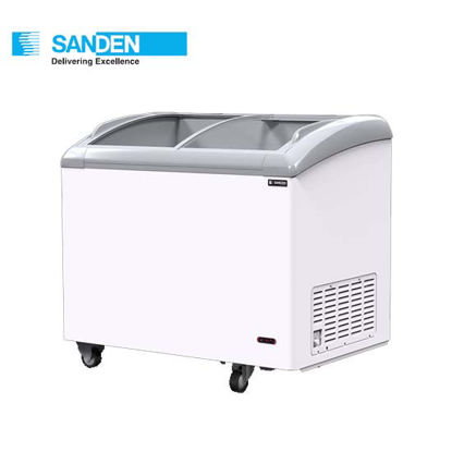 """Picture of Sanden 9.9""""Cuft Curved Glass Chest Freezer (280Liters) Snc-0285"""