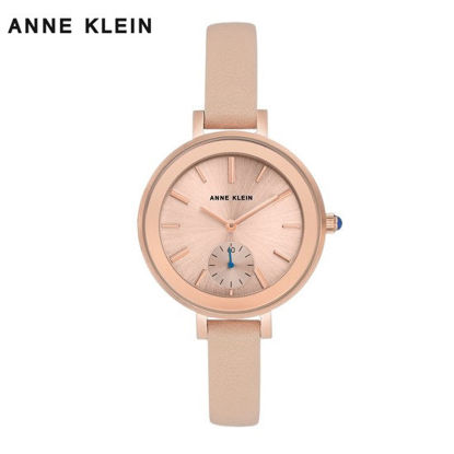 Picture of Anne Klein Rose Gold Tone Watch With Lt Pink Leather Strap
