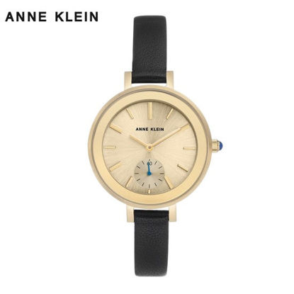 Picture of Anne Klein Gold Tone Watch With Black Leather Strap