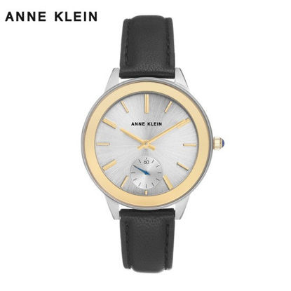 Picture of Anne Klein Gold Tone Watch Withblack Leather Strap