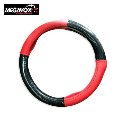 Picture of Megavox Car Accessories Red Black Carbon Medium Circle Cool Leather Steering Wheel Cover