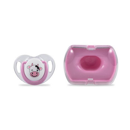 Picture of Mamajoo Silicone Orthodontic Soother & Storage Box CowPink 0+months  1pc