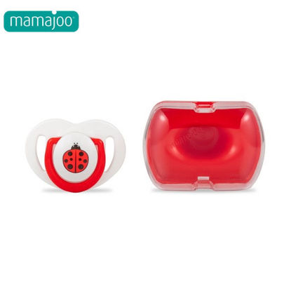 Picture of Mamajoo Silicone Orthodontic Soother & Storage Box LadybugRed