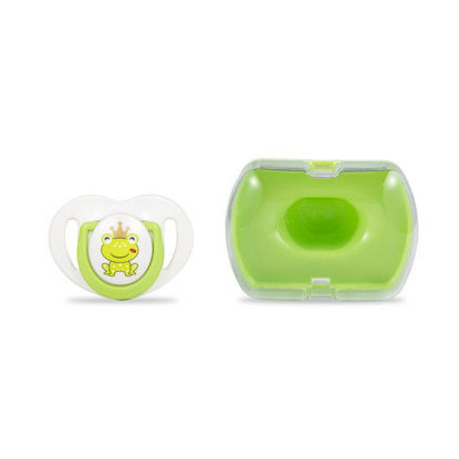 Picture of Mamajoo Silicone Orthodontic Soother & Storage Box Prince FrogGreen 6+months 1pc