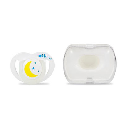 Picture of Mamajoo Silicone Orthodontic Soother & Storage Box NightDay 12+months 1pc