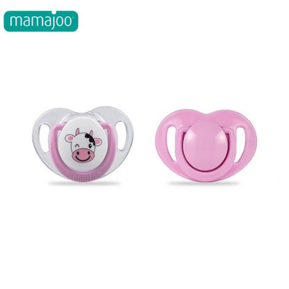 Picture of Mamajoo Silicone Orthodontic Soother CowPink 0+months