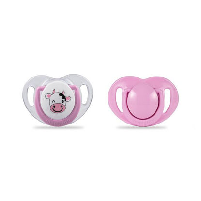 Picture of Mamajoo Silicone Orthodontic Soother CowPink 0+months 2pcs