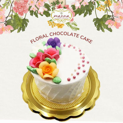 "Picture of Manna 4"" Floral Chocolate Cake"