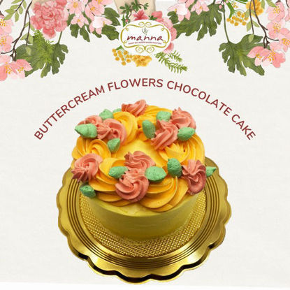 """Picture of Manna 4"""" Petite Buttercream Flowers Chocolate Cake"""