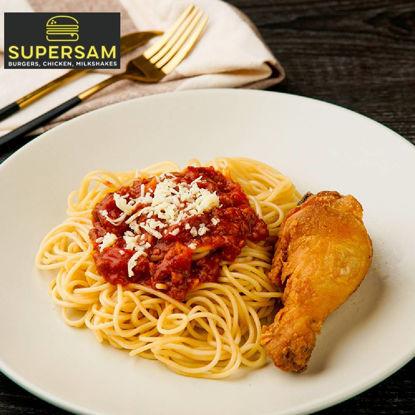 Picture of SuperSam Sam's 1pc Chicken w/ Spaghetti