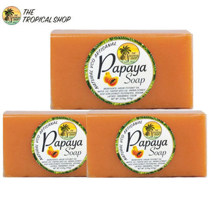 Picture of The Tropical Shop Natural Papaya Soap Set of 3