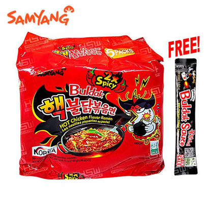 Picture of Samyang H. Chicken Ramen 2x Spicy 140g x 5's With Free Buldak Sauce